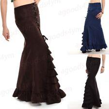Women Steampunk Ruffle Skirt Victorian Gothic Long Mermaid Corset Fishtail Dress