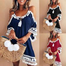 Women Off Shoulder Dress Tassel Short Cocktail Party Beach Dresses Sundress