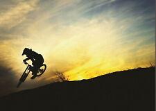 138531 BMX MOUNTAIN BIKE SUNSET JUMP Wall Print Poster CA