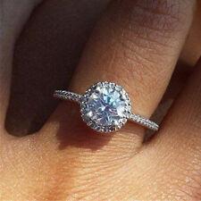 Elegant 925 Silver Wedding Rings for Women White Sapphire Ring Gift Size 6-10