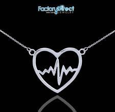 14k White Gold Heartbeat Pulse Pendant  Necklace Nurse Doctor Patien Health Love