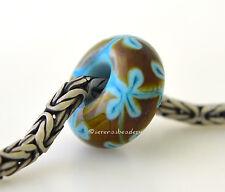 DARK TURQUOISE and RAKU FLOWER European Charm Lampwork Glass Bead - blue brown
