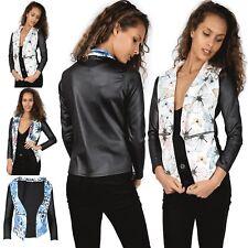 New Womens Ladies Waterfall Floral PVC Long Sleeves Jacket Coat Blazer Top