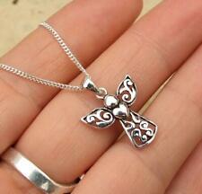 Filigree 925 Sterling Silver Guardian Angel Pendant Necklace