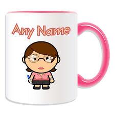 Personalised Gift Teacher Female Mug Money Box Cup Brown Hair Glasses Office Tea