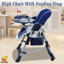 Folding Convertible Child Booster Highchair Baby Feeding Tray Seat 2 Wheel Locks
