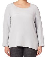 MARINA RINALDI Women's Pale Blue Biarritz Hi-Low Silk Blouse $655 NWT