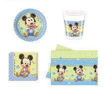 Conjunto Platos Vasos Servilletas Paño Partido Topolino Baby Mickey Mouse