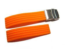 Uhrenarmband mit Faltschließe Kautschuk Silikon Stripes orange 18,20,22,24 mm
