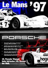 Porsche  Le Mans France 1997 Race   - Print on Paper & Canvas Giclee Poster