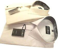 "Men's White or Ivory COTTON RICH  Reg Collar Wedding Dress Shirt 14.5-23"" BNWT"