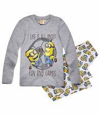 Jungen Schlafanzug Pyjama Langarm Minions grau Gr.116 128 140 152 NEU Geschenk