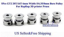 5Pcs GT2 20T/16T 6mm Width 5/6.35/8mm Bore Pulley For RepRap 3D printer Prusa