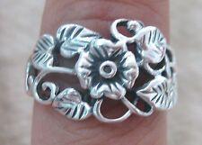925 STERLING SILVER Plain Oxidised Flowers & Leaves Vine Ring size N P R - GIRL
