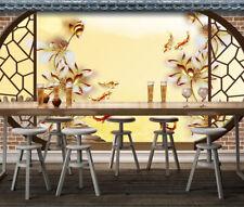 3D Garten Lotus Fisch 9868 Tapete Wandgemälde Tapeten Bild Familie DE Kyra