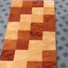 Tapis Pont Inde GABBEH carreau Terracotta noué à la main laine 70x140 cm NEUF