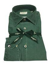 BORRIELLO camisa de hombre verde operado 100 % algodón MADE IN ITALY