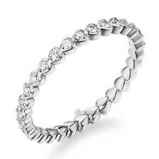 14K White Gold Heart Eternity Wedding Band Stacking Ring 0.33 Ct Diamonds Women
