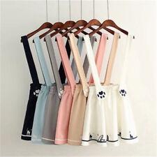 Cute Japanese Kawaii Sweet Lolita Cat Print Preppy Mini skirt Suspender Dress