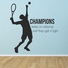 Kampioenen blijven spelen Tennis Quote Muursticker WS-43051