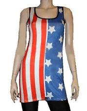 drapeau états-unis américain blanc étoiles DÉBARDEUR LONG RAYURE