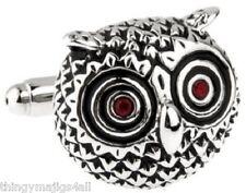 PAIR VINTAGE SILVER OWL CUFFLINKS RUBY RED EYES SHIRT NOVELTY GIFT ANIMAL BIRD