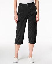 NWT Style & Co Deep Black Cotton Cargo Capris Beachcombers  $54.50