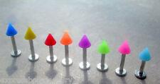 "1 Piece 14g 5/16"" Neon Acrylic Labret Monroe Lip Monroe 5x5 MM Spike"