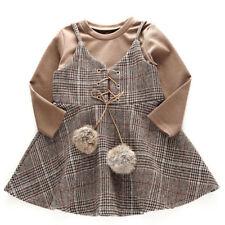 NUOVO autunno manica lunga T-shirt con motivo a Plaid Girls Dress Set partito palla di Pelo Bambini vestiti