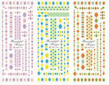 Nail Art Stickers Transfers Decals HOT Series Diamond Patterns 127-129
