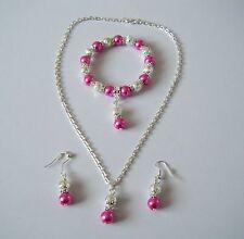 Collier De Perles Boucle d'Oreille & Bracelet Set Idéal Demoiselle D'Honneur Fleur Fille 10 Couleurs