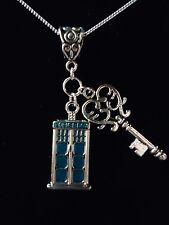 Dr Who Tardis & clave necklace.sterling Plata Cadena option.with Regalo Caja o bolsa