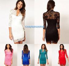 Fashion Women Sexy V-neck Lace Slim Ladies Cocktail Clubbing Party Mini Dress