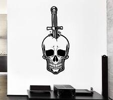 Wall Decal Skull Knife Dagger Death Fear Skeleton Mural Vinyl Stickers (ed033)