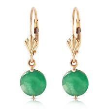 Genuine Emeralds Round Gems Leverback Dangle 14K Yellow White Rose Gold Earrings