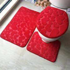 3Pcs/set Bathroom Mat Set Flannel Anti-Slip Kitchen Bath Mat Carpet Rug Washable