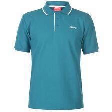 New 2019 Slazenger Men's Tipped Cotton Polo Shirt  Golf Casual S-4XL TEAL BLUE