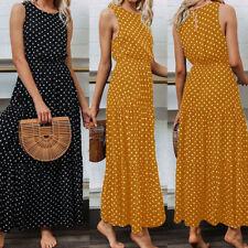 Pretty Ladies Women Summer Beach Sleeveless Dot Maxi Dress Holiday Long Sundress