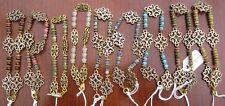 Gemstone and flower connector beaded Gold Plated Bracelet - Gemstone R - V