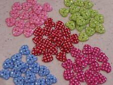 NEW 20 Spotty, Polka Dot Heart Shaped Buttons - You Choose Set!