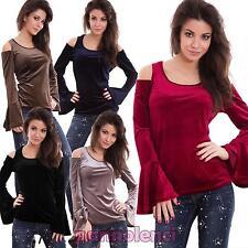 Pull femme t-shirt haut effet en velours manches chauve-souris sexy neuf CD29
