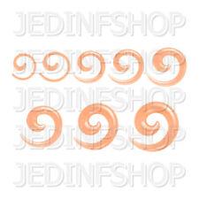 Ear Taper Stretcher Expander - Spiral Snail - 1.6mm To 10mm - Orange Transparent