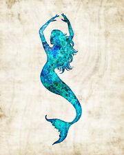 Mermaid #2 Watercolor Art Print by Dan Morris, option to mount print, pick size