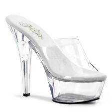 Pleaser KISS-201 Platforms Exotic Dancing Clear Open Toe Slide High Heels