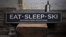 Eat Sleep Ski Sign, Wood Ski Decor -Distressed Wooden Sign ENS1001996