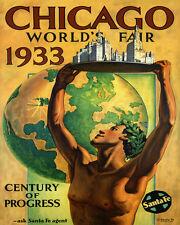 Chicago Illinois 1933 Century of Progress World Fair 16X20 Poster Repro FREE SH