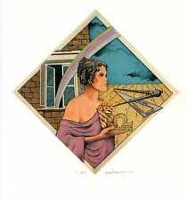 Tarot, Ruler, Dividers, Rainbow, Tarot Ex libris  Etching by P. Rovegno, Italy
