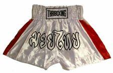 "Muay Kickboxing ""Thai Boxing"" Shorts Tbs-White w/ Red Stripes"