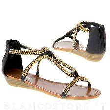 SANDALI donna tacco basso comodi eleganti colore nero catena oro