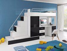 Hochbett TOMI mit Treppe, Schrank, Schreibtisch und Gästebett in Hochglanz weiß